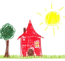 A child's drawing of a house.