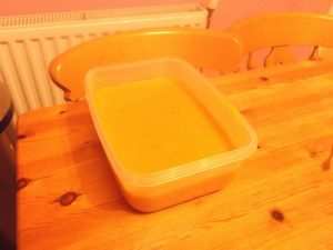 Butternut squash, sweet potato and lentil Soup - boxed up