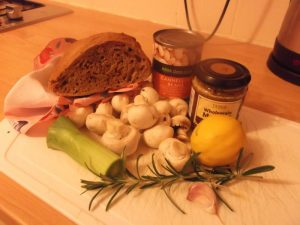 Mustard Mushrooms and Beans on Toast - ingredients