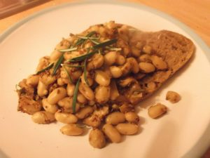 Mustard Mushrooms and beans on toast
