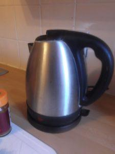 Smokey Black Bean and Lentil Soup - kettle on